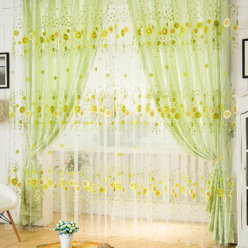 Door Window Scarf Sheer Floral Curtain Drape Panel Voile Valances, voile curtains,Tulle on the window,curtain voile FEN#(China (Mainland))