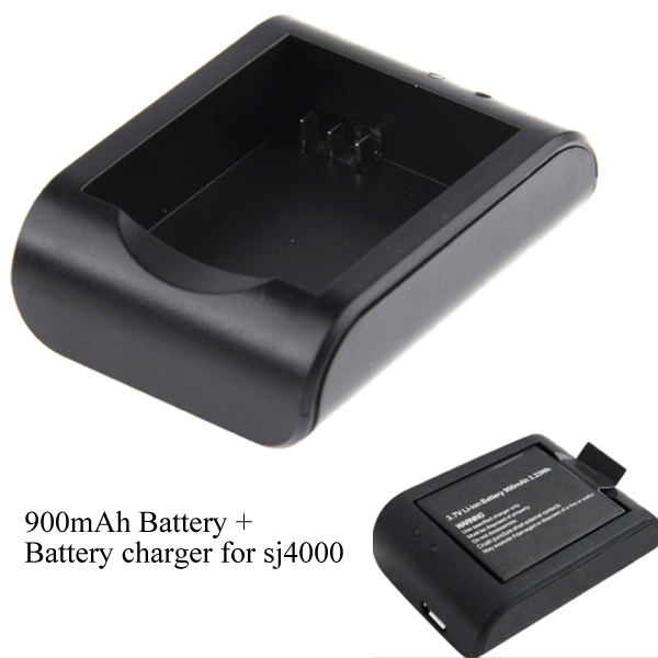 3.7V 900mAh Extra Spare Battery Replacement + Desktop Charger AC Adapter SJ4000 Accessories SJCAM Sports Camera Camcorder - ShenZhen SKY Electronic Co., Ltd store