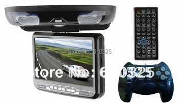 9 Inch Flip Down Car DVD Player Roof Mount DVD Player Flip Down Monitor Free Shipping Retail/PC