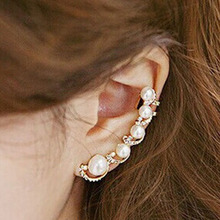 Fashion Earring Jewelry for Women Elegant Vintage Simple Style simulated pearl Ear Cuff Wrap Stud Earrings Gold Silver Plated