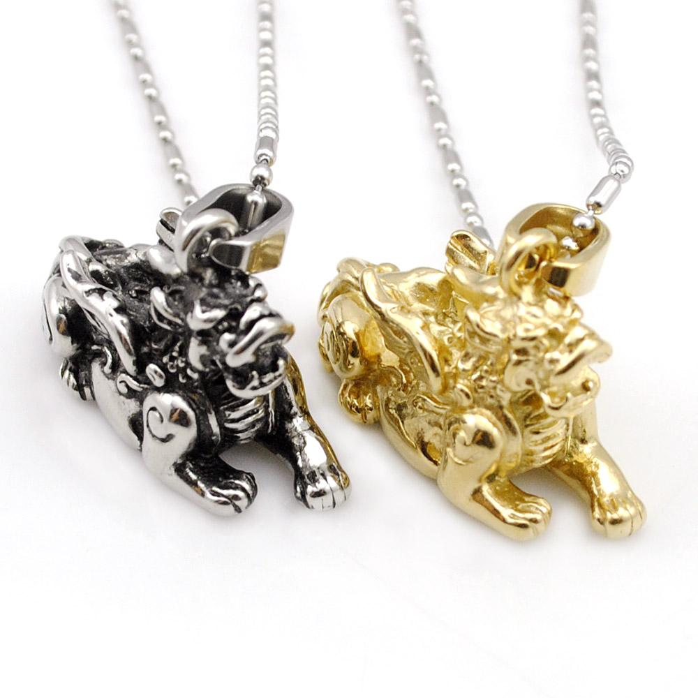 retro china guardian beast kirin pendant necklace cool