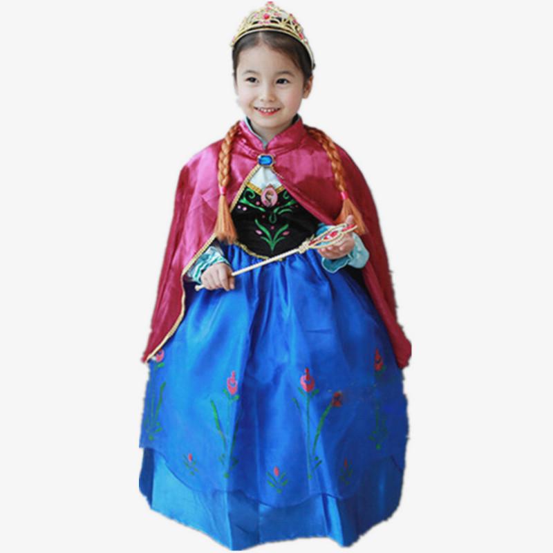 Quality Girl Dress Cotton Full Sleeve Anna Dress with Red Cape Cartoon Girls Party Dress 2015 Brand Halloween Vestidos(China (Mainland))