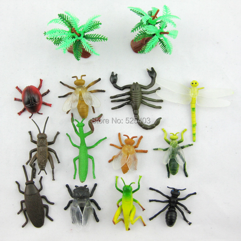 Kids plastic animals insects toys for children 14 pcs/LOT jurassic park insects soft model toy for boy Christmas New Year gift(China (Mainland))