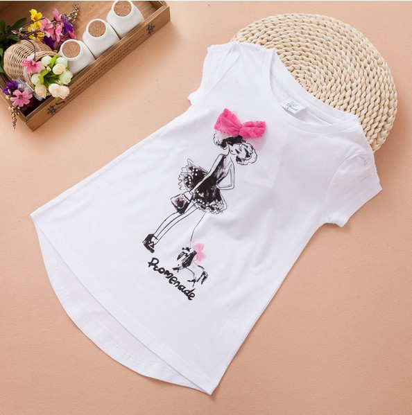 New Arrival 2014 Summer Fashion Baby Girls Tops T Shirts Pretty Girls Bow 100% Cotton Tees Childrens Clothing Kids T shirts Lot<br><br>Aliexpress