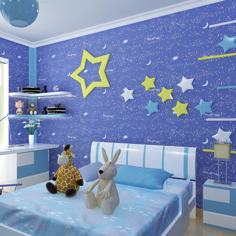 Cartoon Luminous Non Woven 3D Wallpaper Child Girl Boys Bedroom Night