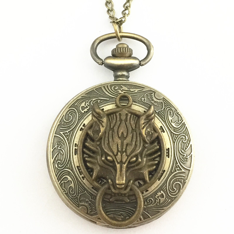 Freeshipping wholesale 20pc a lot Final fantasy Wolf pocket watch Necklace Dia47mm OOK02(China (Mainland))