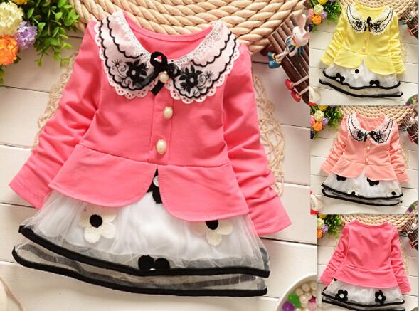 girl dress baby kids clothes 2015 new fashion high quality cotton spring children clothing long-sleeve girls princess dress(China (Mainland))