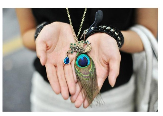 LZ Jewelry Hut N46 2014 New Wholesale Fashion Peacock Feathers Rhinestone Womens Vintage Necklace