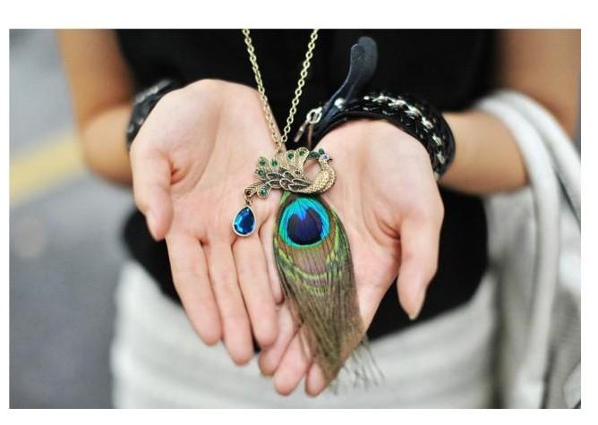 LZ Jewelry Hut N46 2014 New Wholesale Fashion Peacock Feathers Rhinestone Womens Vintage Necklace(China (Mainland))