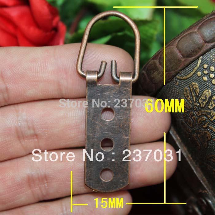 60 * 15MM Antique Hook / Arc 3-hole hook / decoration small hook / red bronze metal hook<br>