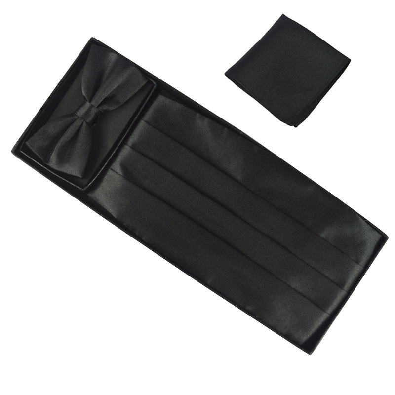New Upscale Men s Cothing Accessories Sets Dresses Girdle Skinny Silk Bowtie Polyester Groom Pockets Square