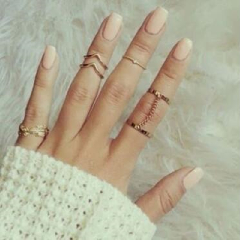 6Pcs/Set Charming Women Leaf Rings Female Gold Silver Stack Plain Band Midi Mid Finger Knuckle Rings Set For Women Anel Jewelry(China (Mainland))