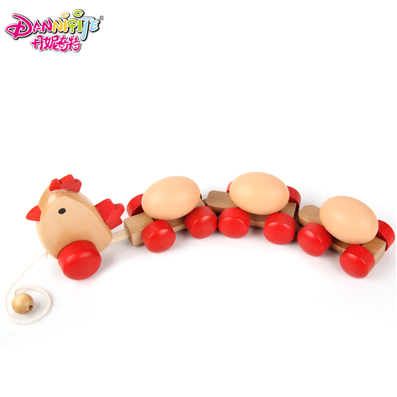Child puzzle pull toys wooden hen egg toy(China (Mainland))