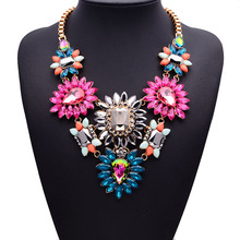 Luxury Crystal Flower Big Statement ZA New Color  Necklace Women Fashion Jewelry Vintage Necklace Jewelry 2015 New 4094