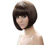 30cm Short Hair Wig Natural As Real Hair Cosplay Wigs Neat Bangs Bob Wigs Cosplay Black Synthetic Party Halloween Peruca Pelucas(China (Mainland))