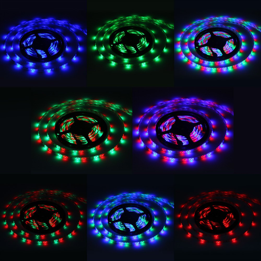 2016 High Quality 24W 5m 300 SMD 3528 RGB LEDs DIY Strip Light IP65 Water Resistant with Voice-activated Controller 12V 1271022<br><br>Aliexpress