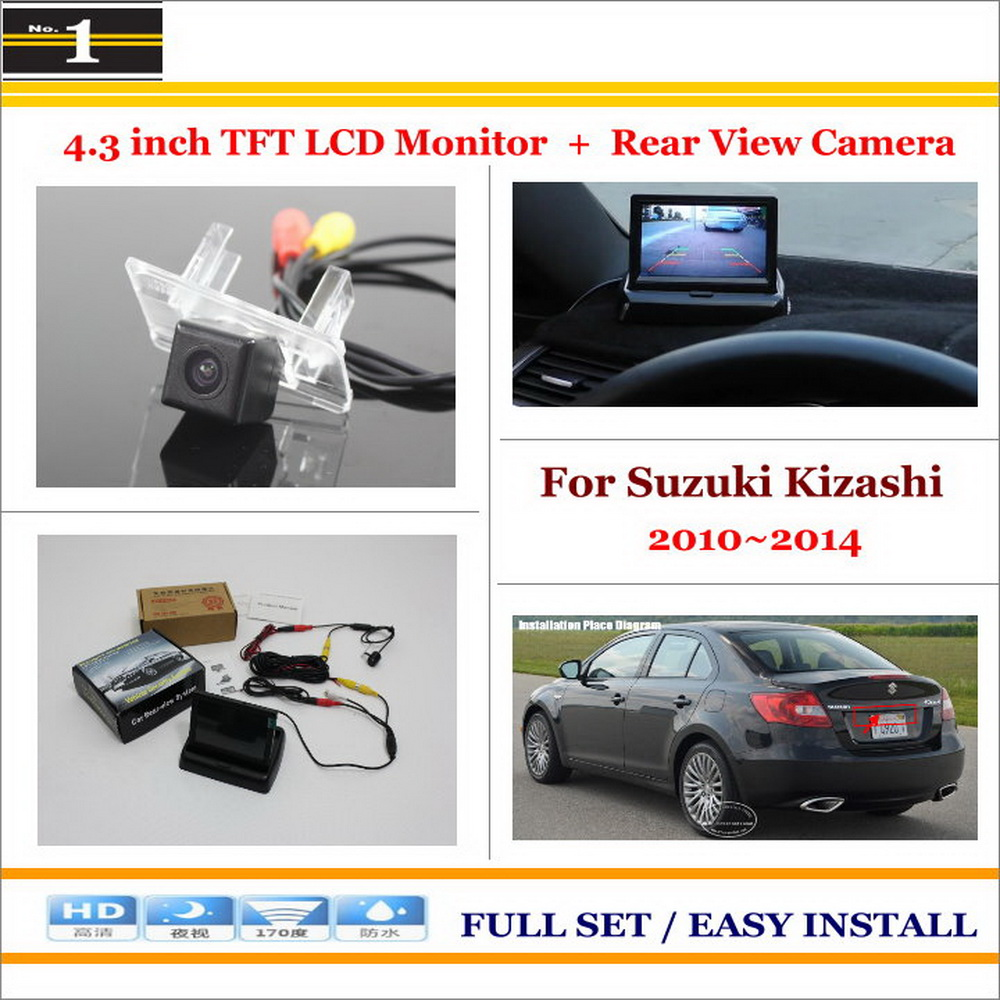 "Car Reverse Backup Rear Camera + 4.3"" TFT LCD Screen Monitor = 2 in 1 Rearview Parking System - For Suzuki Kizashi 2010~2014(China (Mainland))"