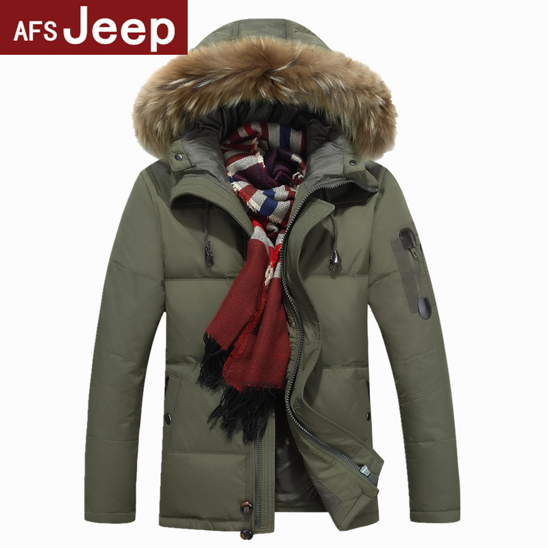 AFS JEEP 2015 mens winter solid thick white duck down parkas hooded waterproof windproof outwear jacket