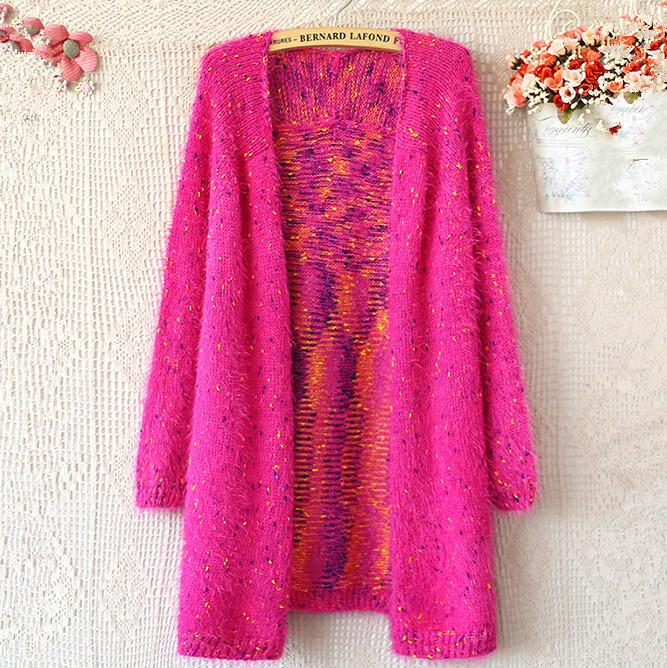 Fashion 2014 Autumn Rainbow women long cardigan Vintage harajuku casual v-neck sweater mohair knitwear coat 8698(China (Mainland))