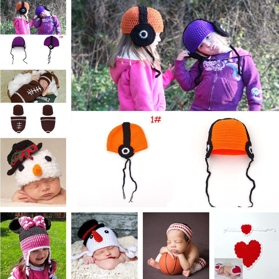 Handband Crochet Baby Hat Children Kids Headphone Cap Spring Autumn Hats Toddlers Photography Props 1pcs MZS-15075(China (Mainland))