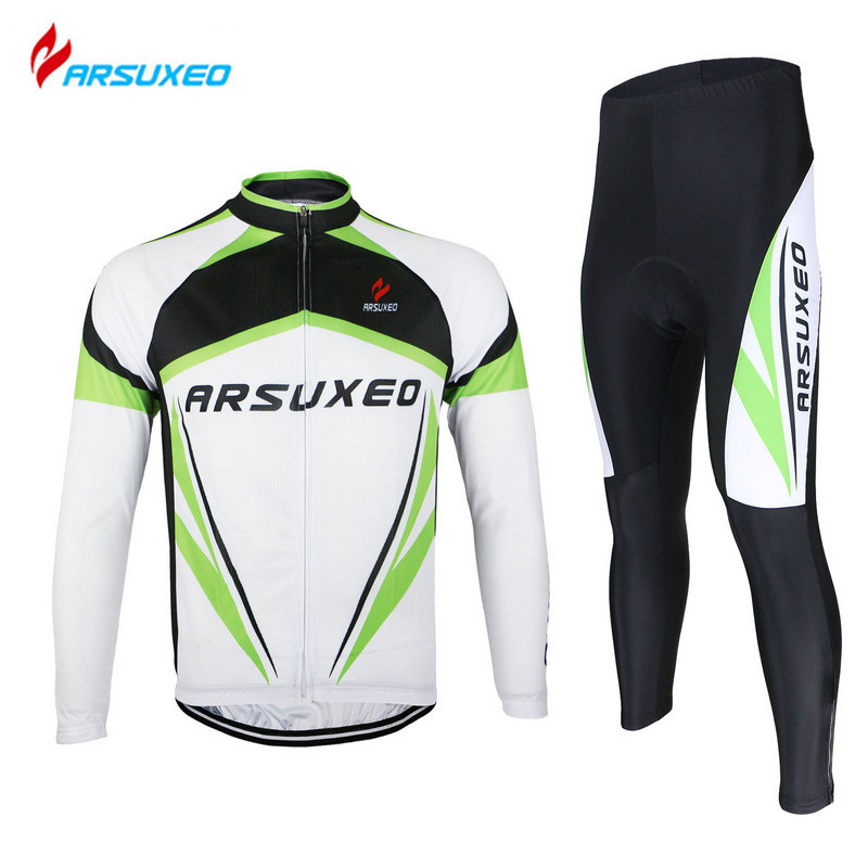 ARSUXEO Men's Outdoor Sports Cycling Jersey Top + 3D Gel Paded Pants Road Bike Bicycle Long Sleeves Quick Dry Wear Clothing Sets
