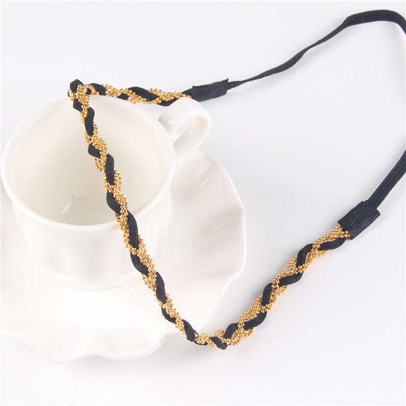 Boho Style Popular Braided Headband Gold Beads Plaited Band Headbands Women Hair Accessories PY026(China (Mainland))