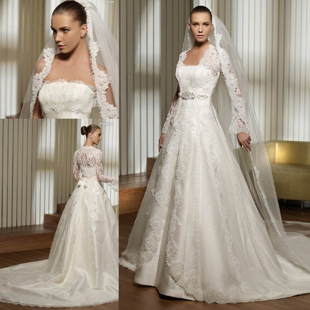 3495 lace bust and long sleeves jacket satin bridal for Long sleeve lace wedding dresses