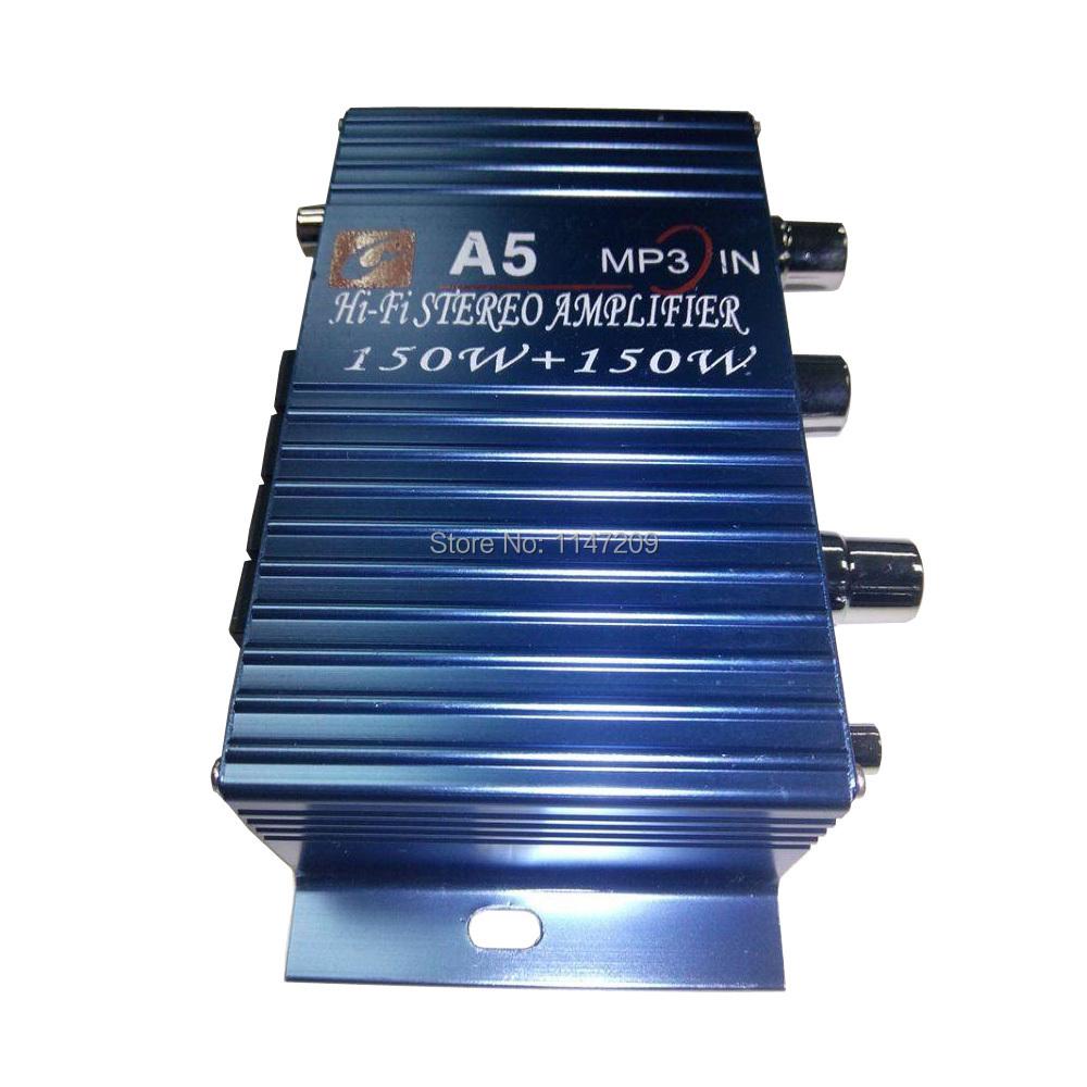 Car Vehicle 150W DC 12V-18V Aluminum Mini Hifi Stereo Audio Power Amplifier amp 3.5mm Port Blue(China (Mainland))