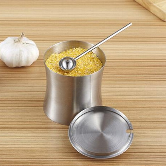 European stainless steel spice jar sugar bowl creative kitchen German sauce pot salt pigs with spoon(China (Mainland))
