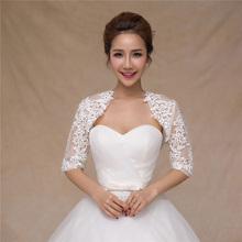 2016 short sleeve bridal lace bolero jackets ivory women shrug para noiva bayan ceket Cape Shawls Wedding Accessories KG_014