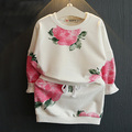 Wholesale 5 pieces lot 2016 spring autumn white flower sweatshirt skirt 2 pieces clothing set for