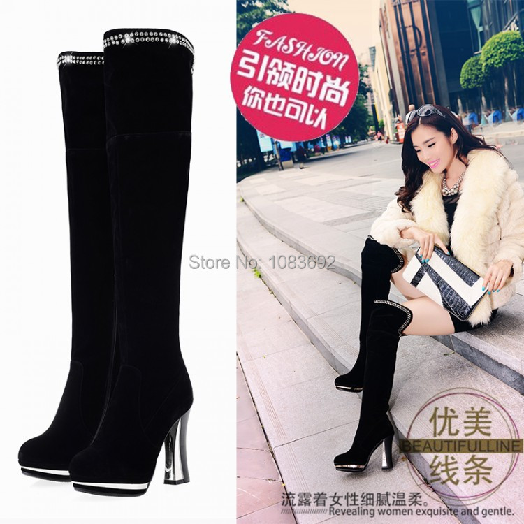 big size 34-43,Free shipping,2014 New,Women Over the knee High heels boots women snow winter warm fur shoes lady fashion boots