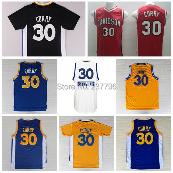 2014 Basketball College Davidson Wildcats Stephen Curry Jersey #30 Home Road Away Red White Embroider Wholesale Cheap(China (Mainland))