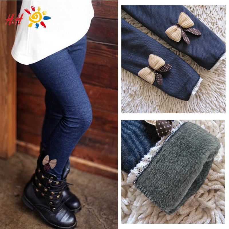 2015 Fashion Wonter Casual Girls Bow Jeans Cotton Children Skinny Cashmere Pants Kids Clothes Warm Elastic