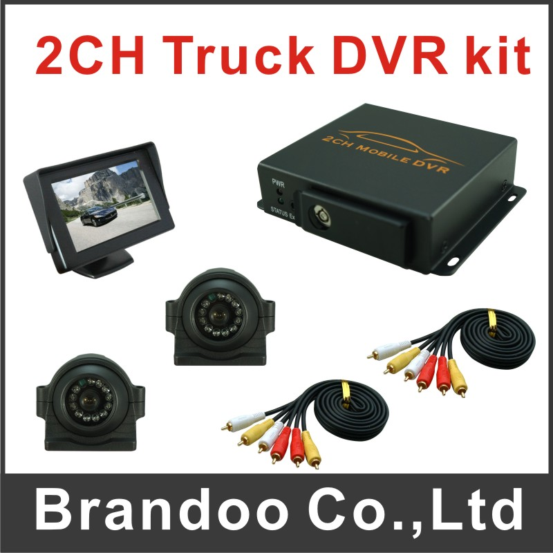 Free shipping 2 cameras truck DVR system, including 2 side view cameras and 1 pcs 4.3inch monitor(China (Mainland))