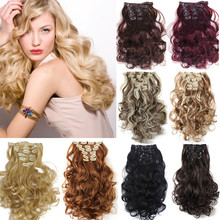 22 Colors!!! Free Shipping 50cm 20inch 7pcs/Set Curly Hair Extension Hairpiece Hair Weave Synthetic Clip In Hair Extensions 999(China (Mainland))