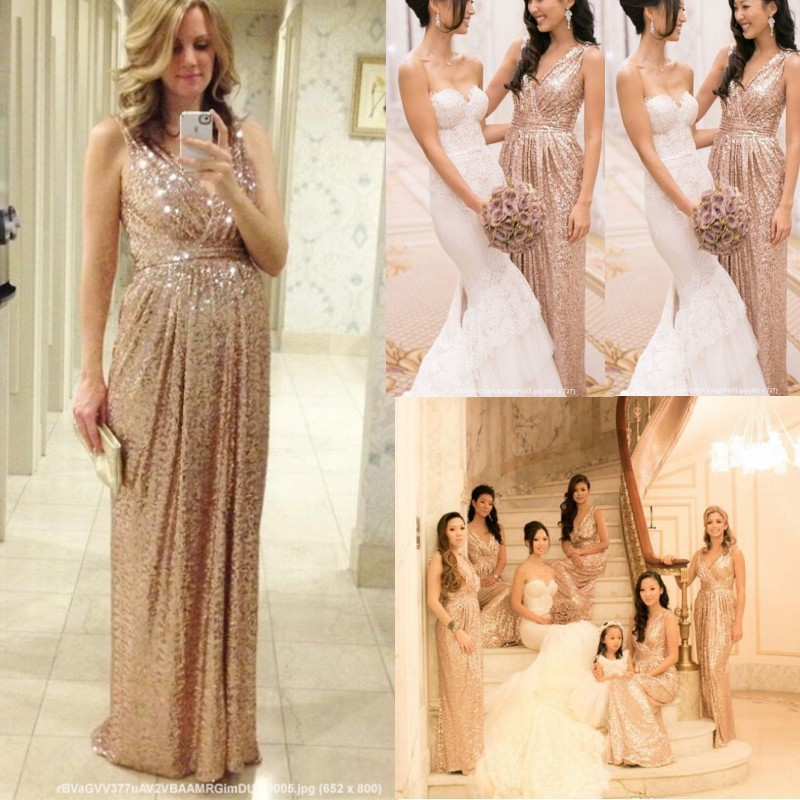 2015 Rose Gold Sequins Bridesmaid Dresses V Neck A Line ...