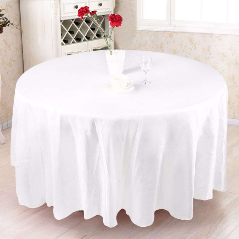 228x228cm Europen Wedding Table Cloth Luxury Satin Round Table Cover for Wedding Party Decorations White Black 2017 Brand New(China (Mainland))
