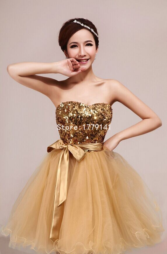Short Bridesmaid Gold New Cool Wedding