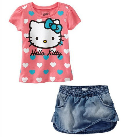TZ-203,Free shipping hello kitty children's clothing sets cartoon pink t-shirt+shorts 2pcs girls suits cotton kids clothes(China (Mainland))