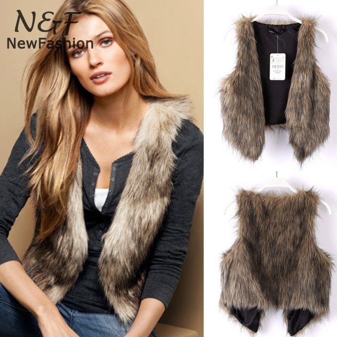 Chic Lady Faux Fur Vest Winter Warm Coat Outwear Long Hair Jacket Waistcoat Tops Drop shipping 34(China (Mainland))