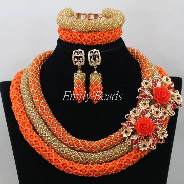 Christmas Gifts Nigerian Wedding/Occassion Crystal Beads Jewelry Set Indian African Bridal Necklace Sets Free Shipping AIJ396<br><br>Aliexpress