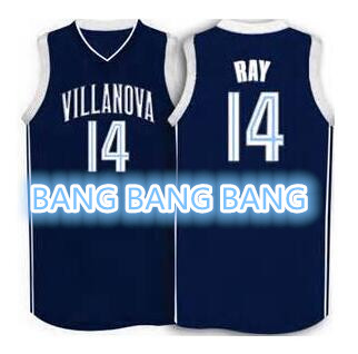 #14 RAY Villanova Wildcats throwback retro basketball jersey navy blue, white- ANY SIZE,all name and numbers are stitched(China (Mainland))