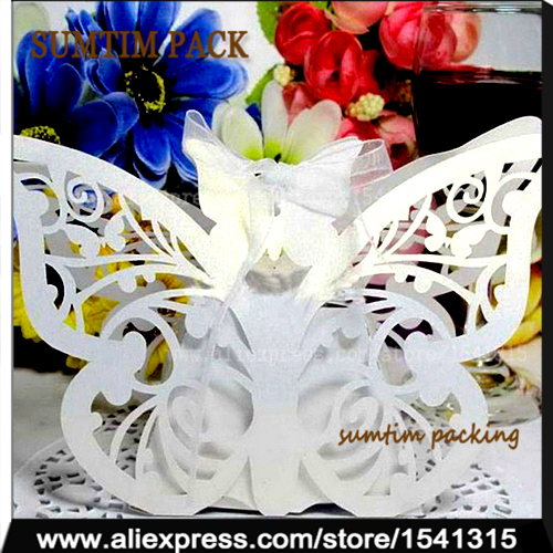 60PCS laser cut butterfly favor box candy gift,wedding gift box ideas,wedding souvenirs candy favour boxes white paper gift(China (Mainland))