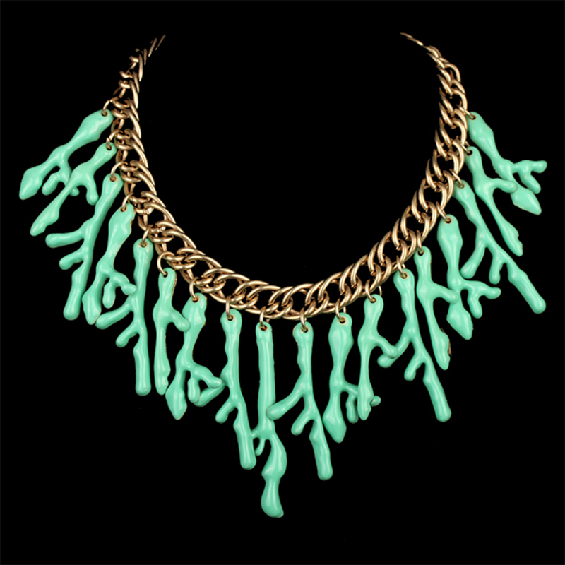 Handmade Gold Plated Unique Resin Plant Drop Statement Choker Necklace Women Fashion Jewelry Party Club Design 3 Colors - KAYMEN JEWELRY CO,.LED. store