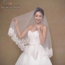 2017 Elegant Cheap Ivory/White Wedding Veil Voile Mariage Lace Bridal Veil Veu De Noiva Gorgeous Wedding Accessories(China (Mainland))