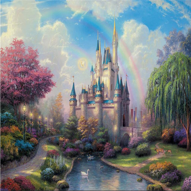 Buy custom 3d mural bedroom living room for Fairy castle mural