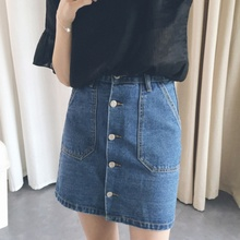 Buy Summer Style Women Mini Skirts High Waist Sexy Womens Pockets Blue Single Breasted Denim A-Line Skirt Casual for $8.14 in AliExpress store