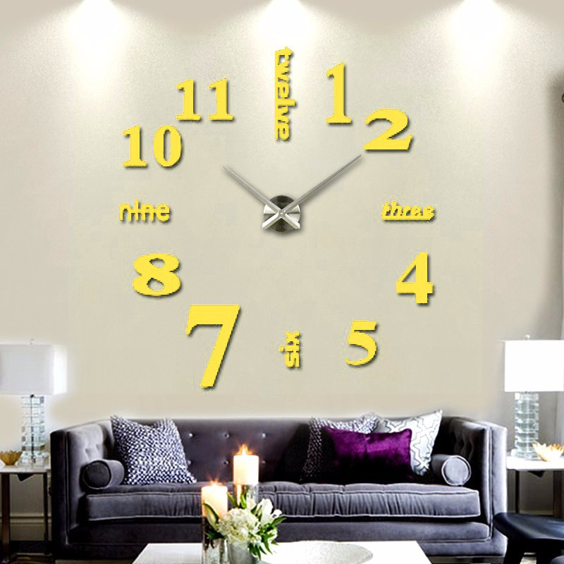 Modern Mute DIY Large Wall Clock 3D Sticker Home Office Decor Black Gift