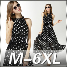 M-6XL 2016 New High Quality Plus Size Dot Chiffon Dress Bohemian Beach Dress Plus Size Women's Clothing MF3054